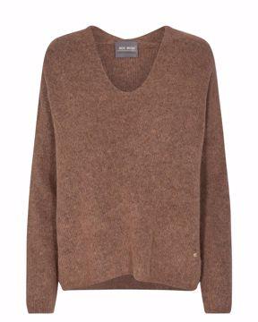 Thora V-neck knit woodsmoke Mos Mosh